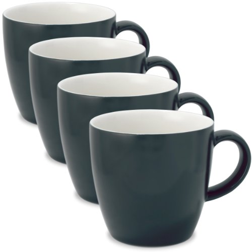 FORLIFE Uni Tea/Coffee Cup with Handle (Set of 4), 11 oz., Black Graphite