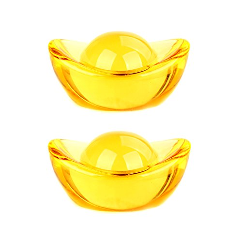 Chinese Yellow Crytal Yuan Bao Feng Shui Golden Ingot/Yuan Bao for Wealth Luck (2 Pcs (Chinese Ingot)