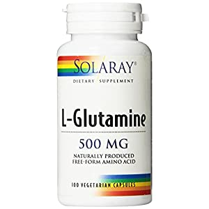 Solaray Free Form L Glutamine 500mg | Healthy Muscle Recovery, Gastrointestinal & Immune System Support | Non GMO | Vegan | Lab Verified | 100 VegCaps