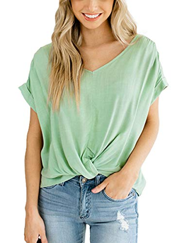 SAMPEEL 2019 Short Sleeve Twist Knotted Summer Comfy Girls V Neck Tunic Tops Green L ()