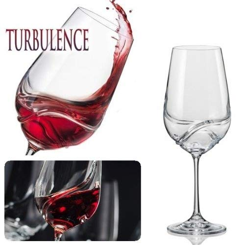 Bar Amigos Pack Of 2 Turbulence Deluxe Bohemian Crystal Wine Glasses Decanting Special Unique Wave Shaped Design For Better Aeration 350Ml/12.3 Ounce Wine (Revolution Bohemian)