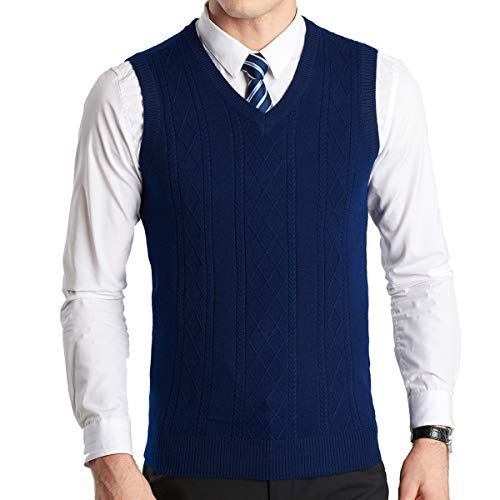 YinQ Mens Casual Golf Tank Top V-Neck Sleeveless Pullover Vest Slim Fit Kintted Sweater Vest