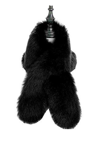 Changuan Women's Winter Fake Faux Fur Scarf Wrap Collar Shawl Shrug Black 120cm