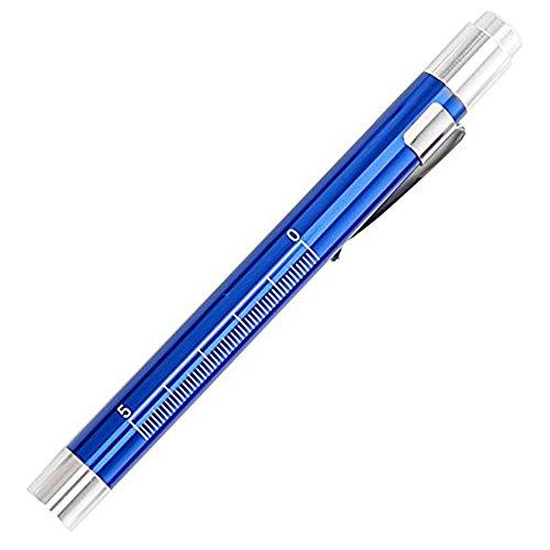 Alotm Nurse Pen Flashlight, Medical First Aid LED Pen Light Torch with Pupil Gauge Warm White For Nurses Doctors EMT Emergency (Blue)