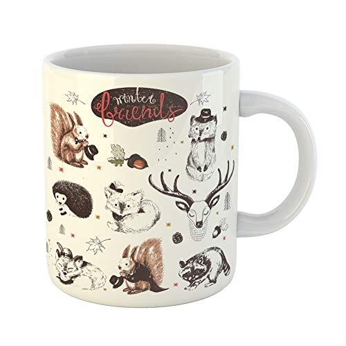 Emvency Coffee Tea Mug Gift 11 Ounces Funny Ceramic Cute Animal Drawings Sketches Squirrel Raccoon Hedgehog Foxes Deer Gifts For Family Friends Coworkers Boss Mug ()