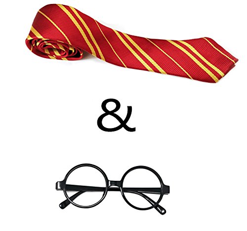 General Striped Tie , Magic Glasses Frame and Badge for potter Family Cosplay Costumes Accessories for Halloween,Christmas and Birthday Party