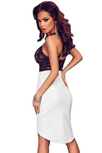 NEW Mesdames noir & blanc dentelle moulante robe Club Parti Porter Porter Taille M UK 10EU 38