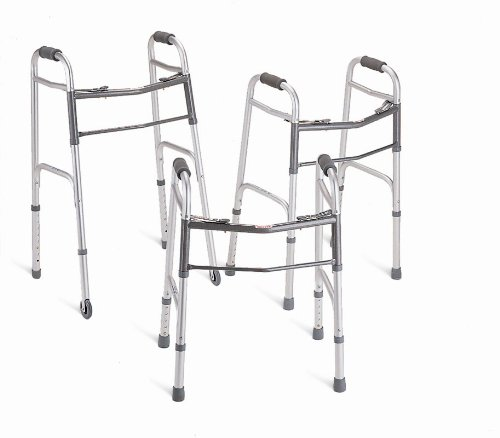 Medline MDS86410JW54B Basic 2-Button Folding Walkers with 5'' Wheels, Junior (Pack of 4)