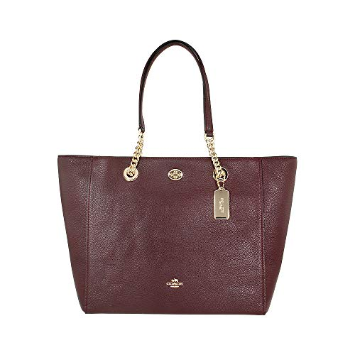 COACH Women's Pebbled Turnlock Chain Tote LI/Oxblood Handbag