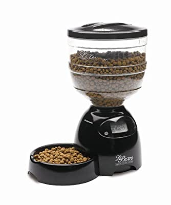 Aspen Pet 24240 LeBistro Portion Control Automatic Pet Feeder, 10-Pounds (Black)