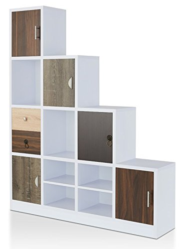 Mission Brown Cabinet Bookcase (MIK Wood 2 Drawers Bookcase with 6 Cube - Bookcase with 5 Cabinets - White/Brown)
