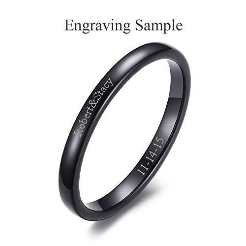 VNOX Free Custom Engraving-2mm Women's Tungsten Carbide Plain Thin Band Wedding Ring,Black,Size 9