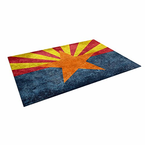 KESS InHouse Bruce Stanfield ''Arizona State Flag Retro Style'' Orange Blue Outdoor Floor Mat, 4' x 5' by Kess InHouse
