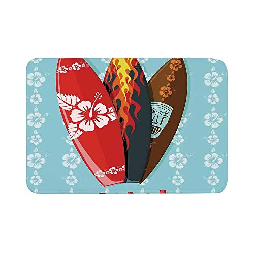 C COABALLA Surf Durable Door Mat,Illustration of Modern Aloha Surfboards with Hibiscus Tribal Mask Flame Extreme Sports for Living Room,17.7
