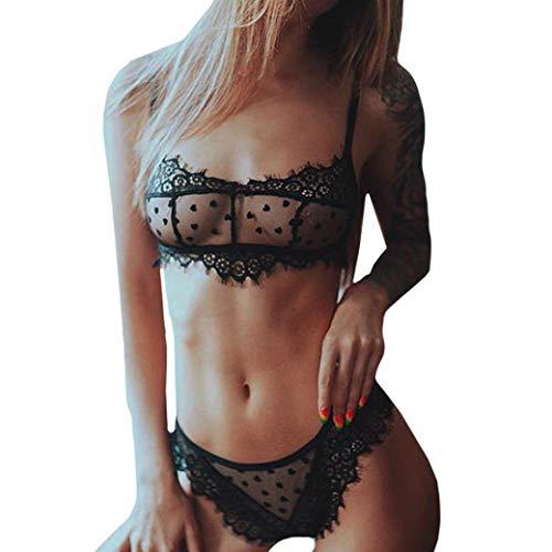 Bras Heart Lace (iTLOTL Delicate Women Heart-Shaped Lace Push Up Top Bra Underpant Set Sexy Lingerie(Black,XXL))