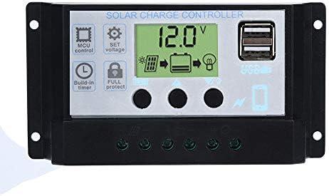 Solar Laderegler Solarregler Intelligent, 12V-24V 40A Multifunktionaler Controller Intelligenter Solar Panel Regler Batterie Solarpanel Laderegler Autofokus-Tracking (Sliber)