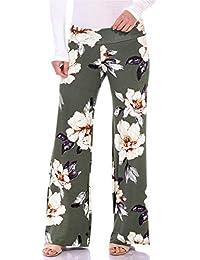 Popana Womens Comfy Chic Wide Leg Boho Print Palazzo Pants Plus Size Made in USA
