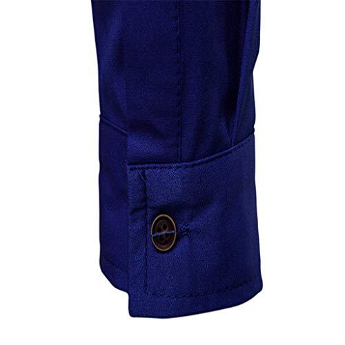 Unie Boutons Longues Hommes Couleur Et De Grande Printemps Manches Taille Chemises Foncé Chemisiers Bleu Pour Piebo Hiver Décontractés À Blouse Tw0xC6C