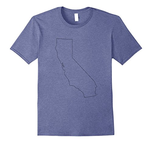 Mens State of California Outline T-shirt Medium Heather Blue