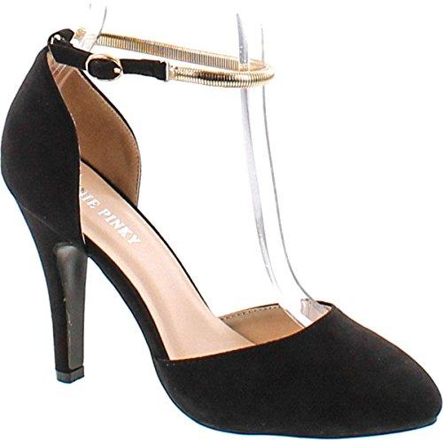 (Annie Pinky Kara-07 Women's Sassy D'Orsay Ankle Strap Dress Pumps,Black,10 )