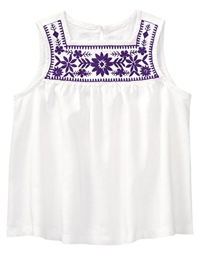 Crazy 8 Girls' Toddler Woven Tank Top, Purple Embroidered Yoke, 2T