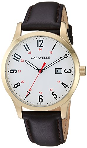 Caravelle Men's Quartz Stainless Steel and Leather Dress Watch, Color:Brown (Model: ()