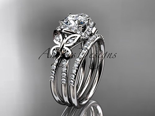 14kt white gold diamond butterfly wedding ring, engagement set ()