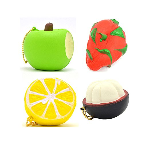 4x Squishy Fruit Jumbo Pitaya Bitten Apple Half Mangosteen Lemon Soft Key Chains