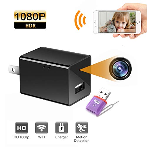 (WiFi Spy Camera, Besiva Hidden Camera Wireless Mini Camera with Remote Viewing & Motion Detection, 1080P HD Wall Charger Nanny Cam/Security Camera for Home Office, Support iOS/Android/PC )