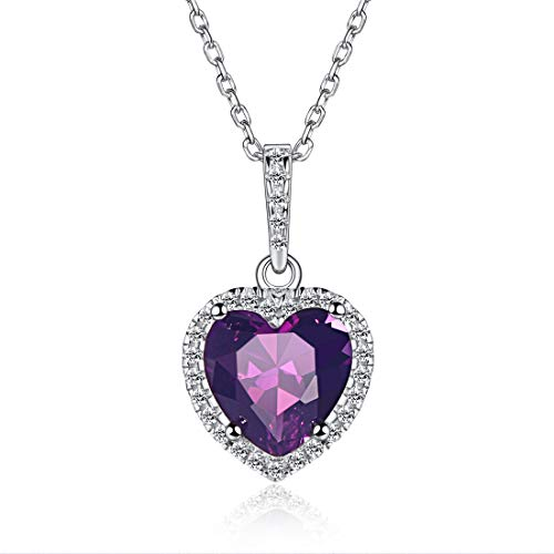 Heart Necklace Love Amethyst February Birthstone Necklace Sterling Silver Gemstone Pendant Jewelry Gifts for Women Girls