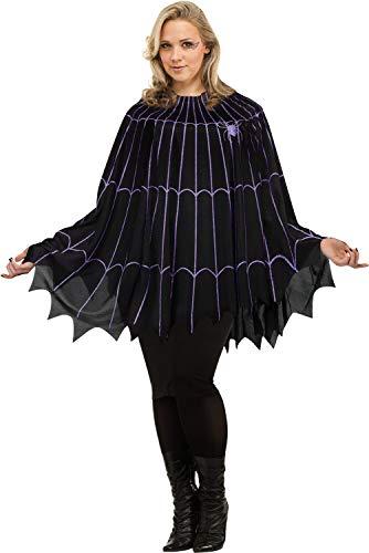 Fun World Women's Spider Web Poncho Plus Size Costume Black/Purple, Multi, ()