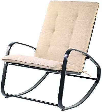 OC Orange-Casual Patio Rocking Chair with Olefin Cushion Steel Rocker Chair for Porch, Balcony, Black