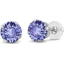 14K White Gold Blue Tanzanite Stud Earrings, 0.60 Ctw Round 4MM Gemstone Birthstone