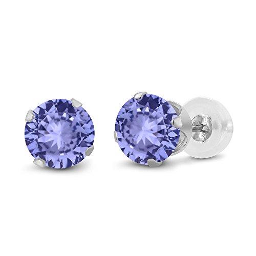 Gem Stone King 14K White Gold Blue Tanzanite Stud Earrings, 0.60 Ctw Round 4MM Gemstone - Tanzanite 14k Stud