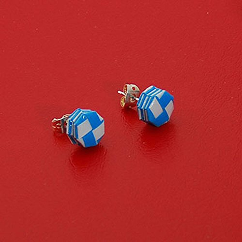 - Paper Woven Octagonal Light Blue and White Silver Stud Earrings