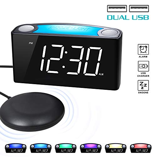 ROCAM Vibrating Loud Alarm Clock with Bed Shaker, Best Sounds, Large LED Display with Dimmer, 7 Colored Night Light, Dual USB Charging Ports for Heavy Sleepers, Hearing Impaired, Deaf People, - Sonic Clock Alert