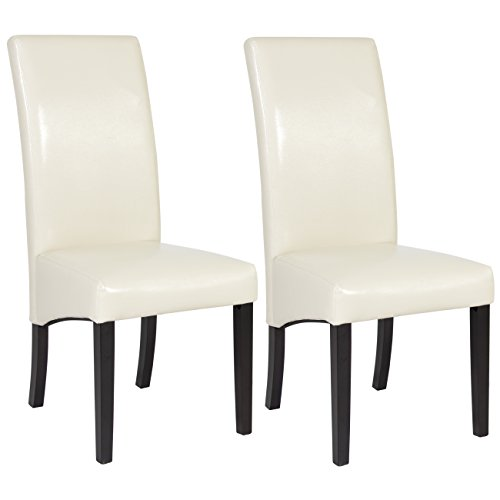 Best Choice Products Set of (2) White Leather Dining Chairs Elegant Design Contemporary Home Office
