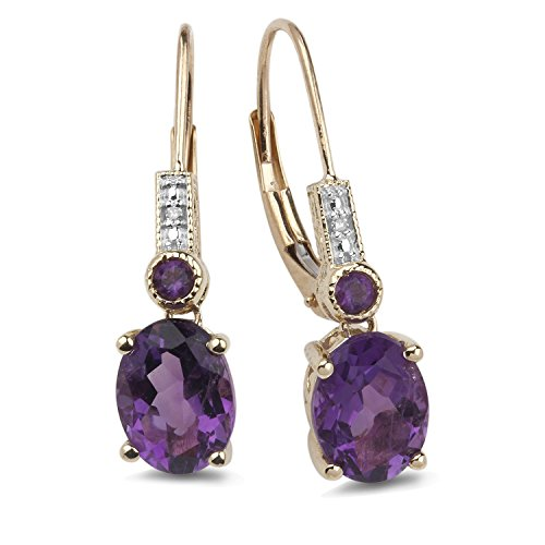 10k Yellow Gold Amethyst Earrings - Amethyst Earrings Diamond Accent in 10k Yellow Gold and White Rhodium Plated Accents