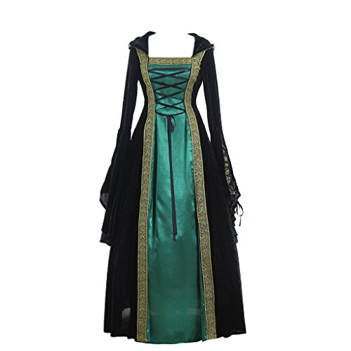 CosplayDiy Women's Medieval Renaissance Retro Gown Cosplay Costume Dress XXL Green