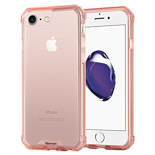 Price comparison product image Case for iPhone 7, Korecase Slim Crystal Clear Impact Resistant Flexible Shockproof Bumper and Anti-Scratch Protective Case Cover for Apple iPhone 7 - Pink