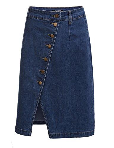 Zeagoo Women's Jean High Waist Split Front Button Clousre Denim Sheath Skirt (XS, SkyBlue) (Split Denim Skirt)