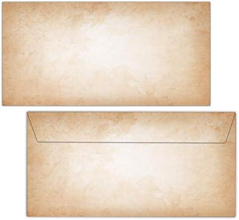 Vintage Umschläge / 50 Stück/DIN lang ohne Fenster/beidseitig bedruckte Briefumschläge im hochwertigen Stil - hell - Von Sophies Kartenwelt