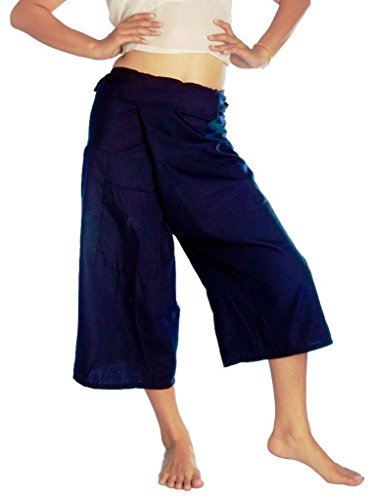 THAILAND LIGHT COTTON 3/4 CAPRI THAI FISHERMAN PANTS ONE-SIZE