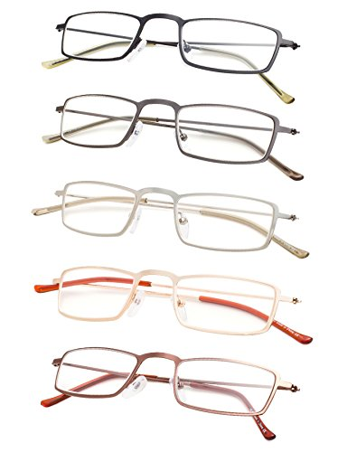 5-Pack Lightweight Readers Men Women Reading Glasses Gunmetal +1.75