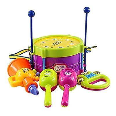 Kekailu Musical Instruments Toys,Children Kids Baby Roll Drum Musical Instruments Band Kits Toys 5 in 1 Set Gift: Home & Kitchen