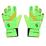 Sportout Kids Goalkeeper Gloves, Soccer Gloves with Double Wrist Protection and Non-Slip Wear Resistant Latex Material to Give Splendid Protection to Prevent Injuries.(Green, 7)