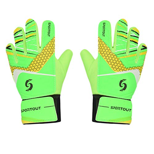 Sportout Kids Goalkeeper Gloves, Soccer Gloves with Double Wrist Protection and Non-Slip Wear Resistant Latex Material to Give Splendid Protection to Prevent Injuries(Green, 6) - Kids Goalie Gloves