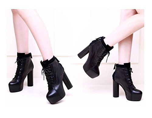 wdjjjnnnv Round head High heel Ankle Boots Woman's Chunky Martin Bootie Genuine Leather Waterproof Lace Up Rear zipper Fashionable Shoes 34 XDmw8yv