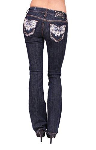 Print Rhinestone Floral (Cello Jeans Women Boot Cut Jeans With Floral Print and Rhinestones 9 Dark Denim)