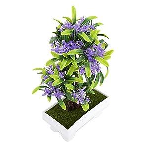 GLOGLOW Artificial Bonsai Flower Pot Fake Silk Flower Tree Plant for Wedding Holiday Home Decor 9